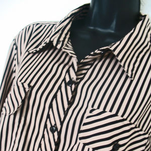 NOTATIONS BROWN, TAN  LINES,  BUTTONS BLOUSE SIZE